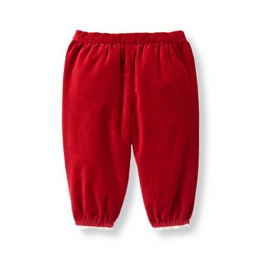 Baby Girl Holiday Red Velveteen Pant at JanieandJack