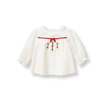 Baby Girl Jet Ivory Hand-Embroidered Rosette Top at JanieandJack
