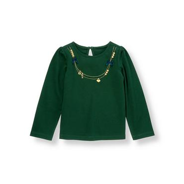 Pine Green Key Necklace Top at JanieandJack