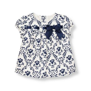 Classic Navy Floral Damask Sateen Top at JanieandJack