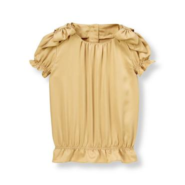 Metallic Gold Charmeuse Top at JanieandJack