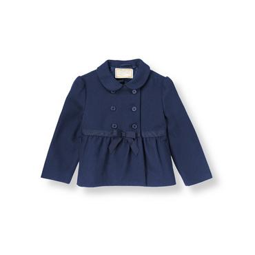 Baby Girl Classic Navy Ribbon Coat at JanieandJack