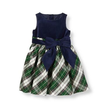 Pine Green Plaid Tartan Silk Dress at JanieandJack