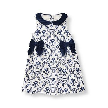 Classic Navy Floral Damask Sateen Dress at JanieandJack