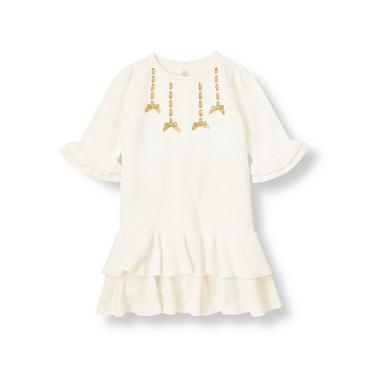 Jet Ivory Satin Ribbon Sweater Dress at JanieandJack