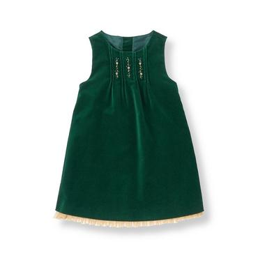 Pine Green Metallic Embroidered Velveteen Jumper at JanieandJack