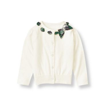 Jet Ivory Pointelle Interlaced Cardigan at JanieandJack