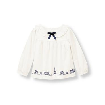 Jet Ivory Paris Embroidered Top at JanieandJack