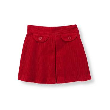 Red Holly Pleated Corduroy Skirt at JanieandJack