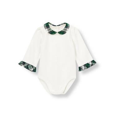 Baby Girl Jet Ivory Plaid Collar Bodysuit at JanieandJack