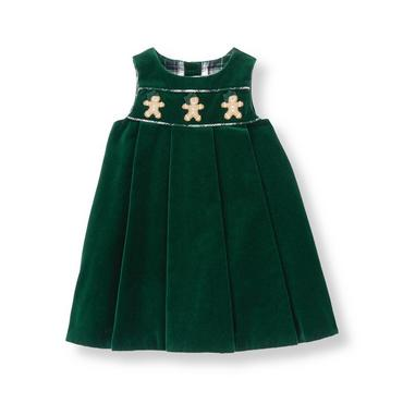Baby Girl Pine Green Gingerbread Velveteen Jumper at JanieandJack