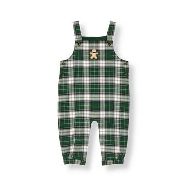 Tartan Green Plaid Gingerbread Plaid Overall at JanieandJack