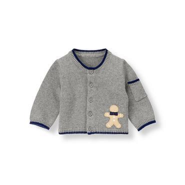 Baby Boy Dark Grey Heather Gingerbread Cardigan at JanieandJack