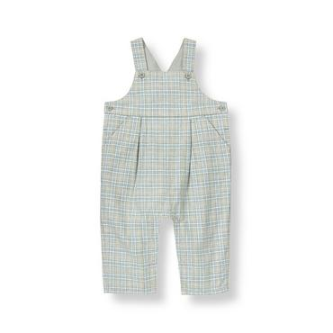 Snow Blue Plaid Plaid Twill Overall at JanieandJack