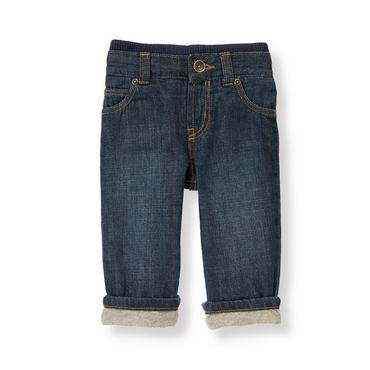 Dark Denim Lined Denim Jean at JanieandJack