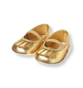 Pleated Metallic Gold Crib Shoe