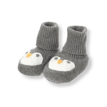 Penguin Grey Penguin Sweater Crib Bootie at JanieandJack