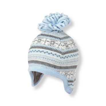 Baby Boy Snow Blue Fair Isle Earflap Hat at JanieandJack