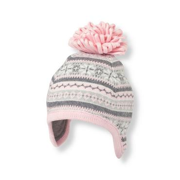 Snow Pink Fair Isle Earflap Hat at JanieandJack