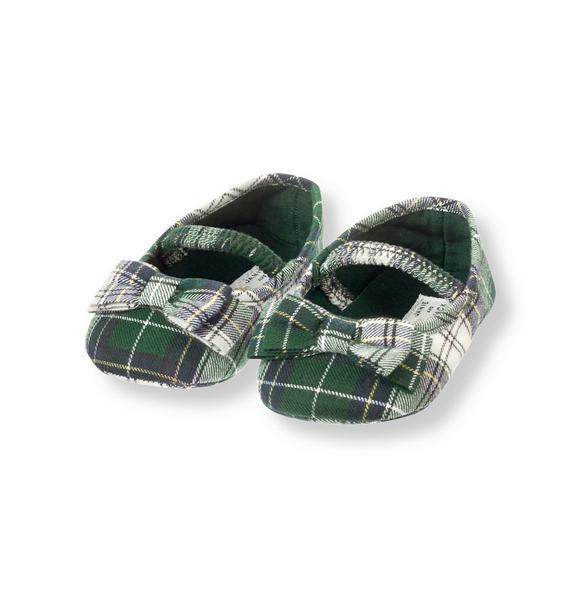 Bow Plaid Crib Shoe