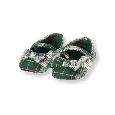 Baby Girl Tartan Green Plaid Bow Plaid Crib Shoe at JanieandJack
