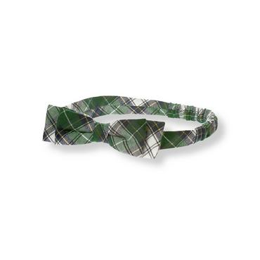 Tartan Green Plaid Bow Plaid Headband at JanieandJack