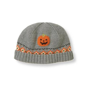 Boys Dark Grey Heather Pumpkin Fair Isle Sweater Beanie at JanieandJack