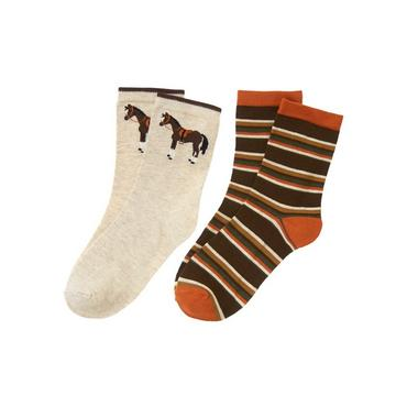 Boys Oatmeal Heather/Equestrian Brown Stripe Horse Stripe Sock Two-Pack at JanieandJack