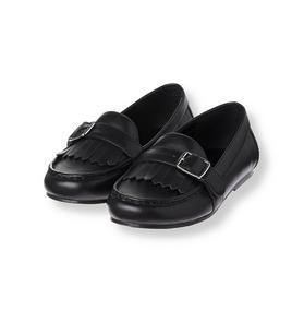 Leather Buckle Fringe Loafer