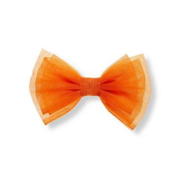 Pumpkin Orange Bow Tulle Barrette at JanieandJack