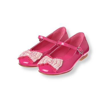 Raspberry Pink Boucle Bow Patent Shoe at JanieandJack