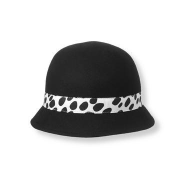 Classic Black Dalmatian Dot Wool Cloche Hat at JanieandJack
