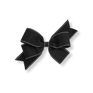 Classic Black Pickstitched Bow Barrette at JanieandJack