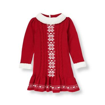 Red Holly Snowflake Fair Isle Sweater Dress at JanieandJack