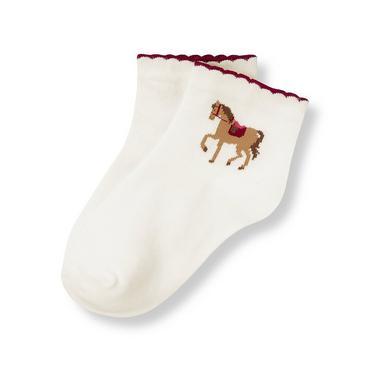 Jet Ivory Equestrian Horse Sock at JanieandJack