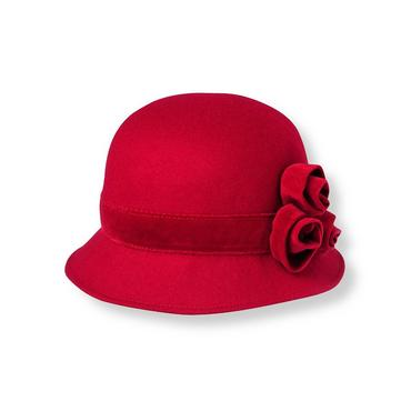 Holiday Red Rosette Cloche Hat at JanieandJack