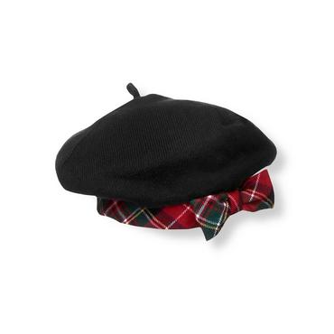 Classic Black Tartan Plaid Trim Sweater Beret at JanieandJack