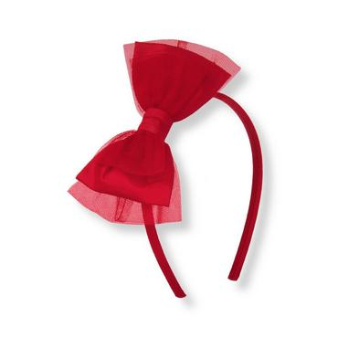 Holiday Red Silk Bow Tulle Headband at JanieandJack