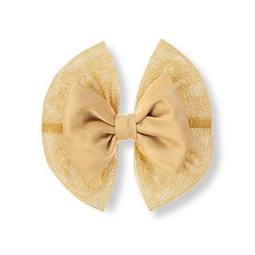 Metallic Gold Metallic Tulle Bow Barrette at JanieandJack