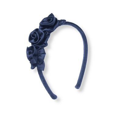 Classic Navy Charmeuse Rosette Headband at JanieandJack