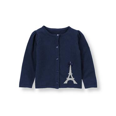 Parisian Navy Eiffel Tower Cardigan at JanieandJack