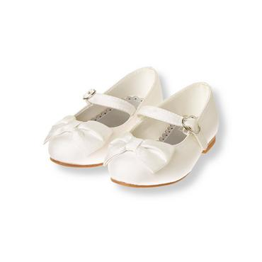 French Ivory Silk Bow Shoe at JanieandJack