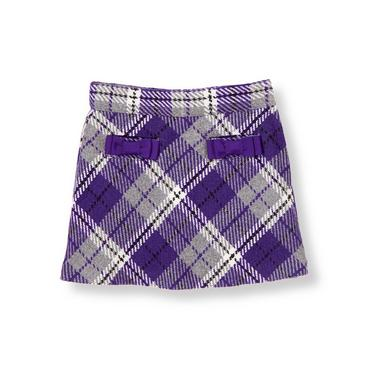 Violet Purple Plaid Bow Pocket Plaid Skirt at JanieandJack