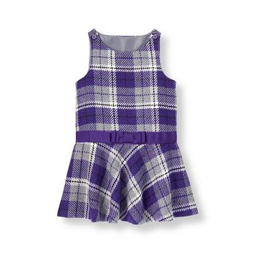Violet Purple Plaid Bow Plaid Jumper at JanieandJack