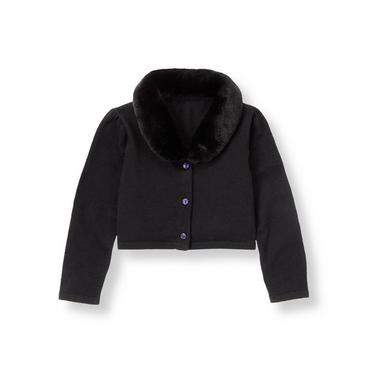 Classic Black Faux Fur Collar Crop Cardigan at JanieandJack