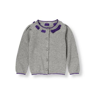 Cloud Grey Heather Ribbon Interlaced Cardigan at JanieandJack