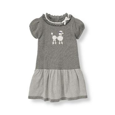 Cloud Grey Heather Poodle Sweater Dress at JanieandJack