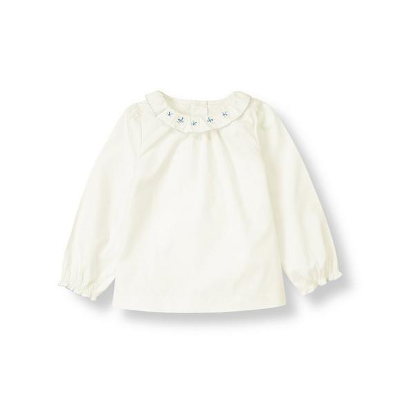 Flower Embroidered Collar Top
