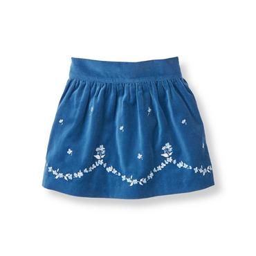 Fanciful Blue Floral Embroidered Velveteen Skirt at JanieandJack