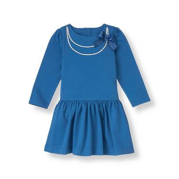 Fanciful Blue Bow Necklace Knit Dress at JanieandJack